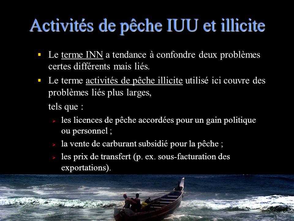 Activités de pêche IUU et illicite Le terme INN a tendance à confondre deux problèmes certes différents mais liés. Le terme activités de pêche illicit