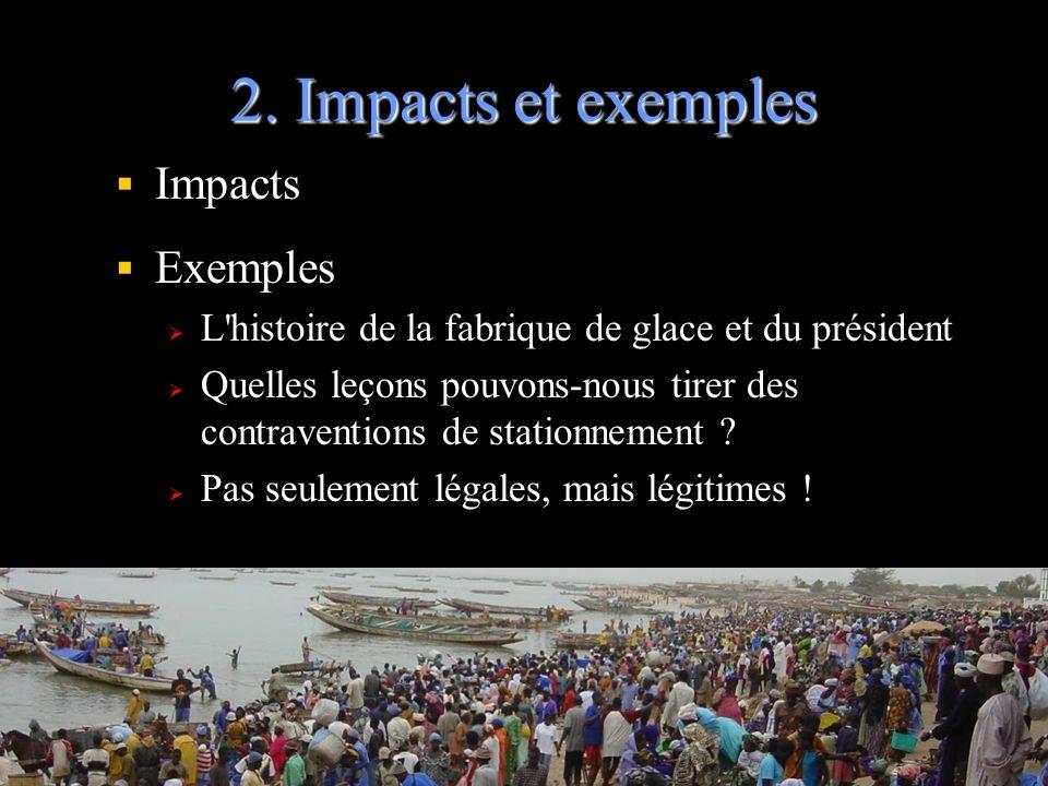 2. Impacts et exemples Impacts Exemples L'histoire de la fabrique de glace et du président Quelles leçons pouvons-nous tirer des contraventions de sta