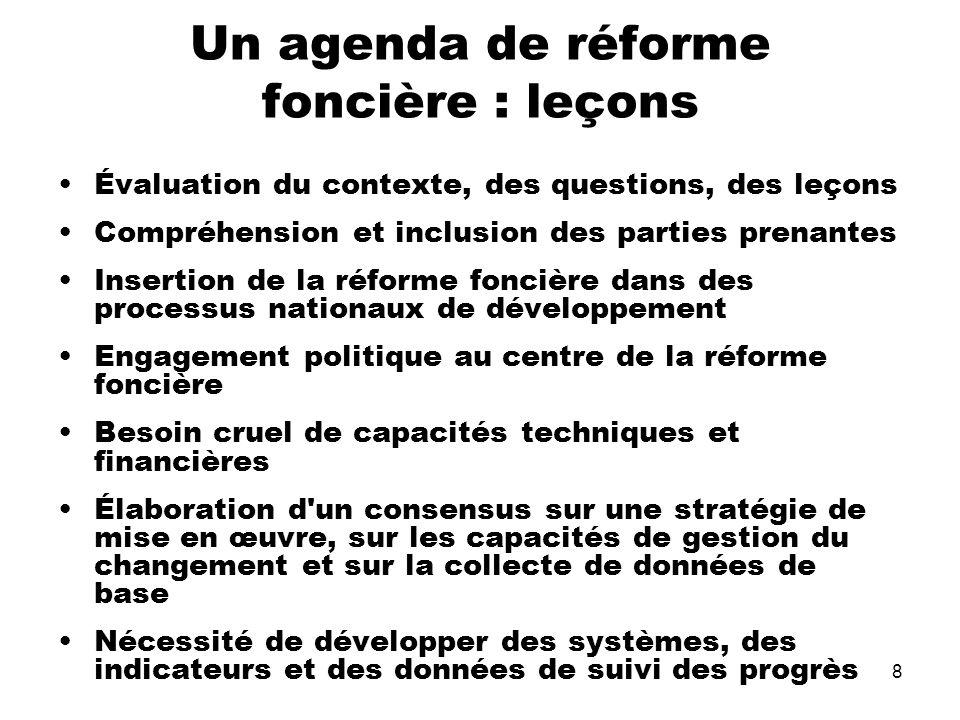 8 Un agenda de réforme foncière : leçons Évaluation du contexte, des questions, des leçons Compréhension et inclusion des parties prenantes Insertion