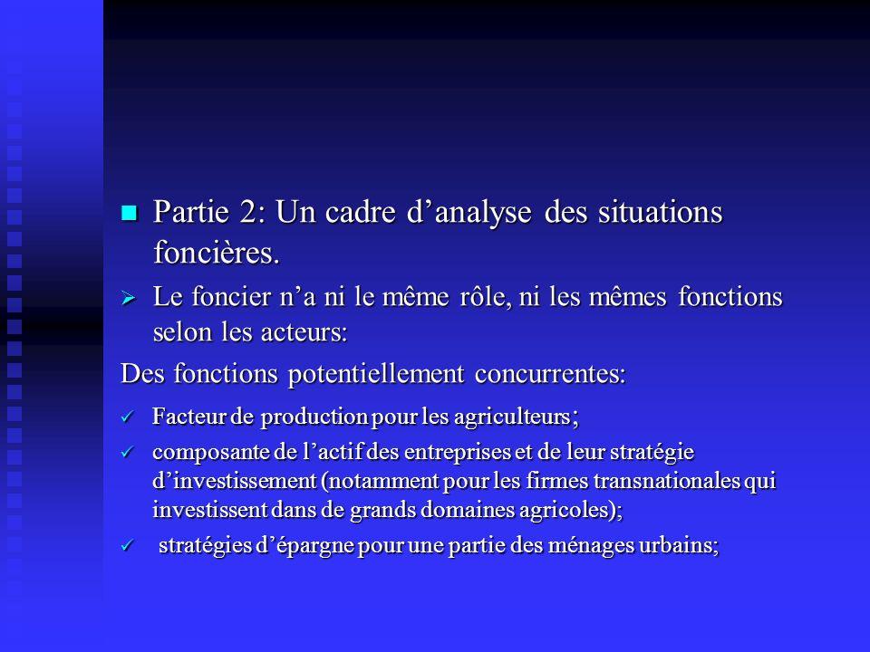Partie 2: Un cadre danalyse des situations foncières. Partie 2: Un cadre danalyse des situations foncières. Le foncier na ni le même rôle, ni les même