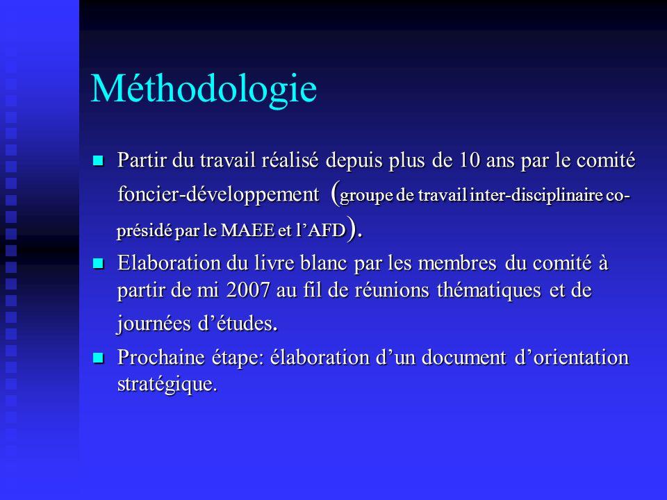 Méthodologie Partir du travail réalisé depuis plus de 10 ans par le comité foncier-développement ( groupe de travail inter-disciplinaire co- présidé p