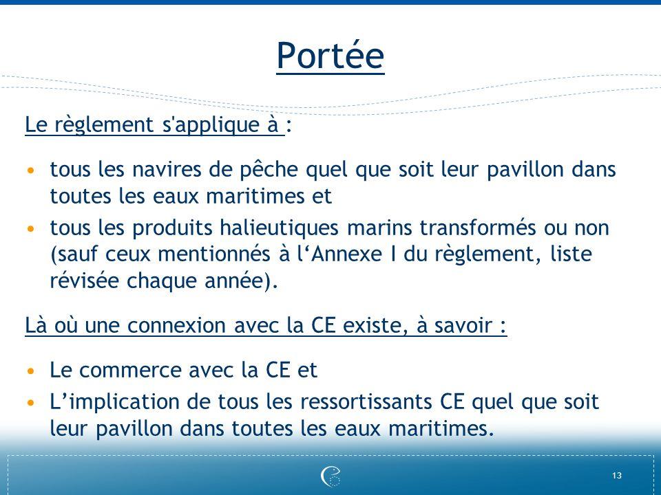 13 Portée Le règlement s'applique à : tous les navires de pêche quel que soit leur pavillon dans toutes les eaux maritimes et tous les produits halieu