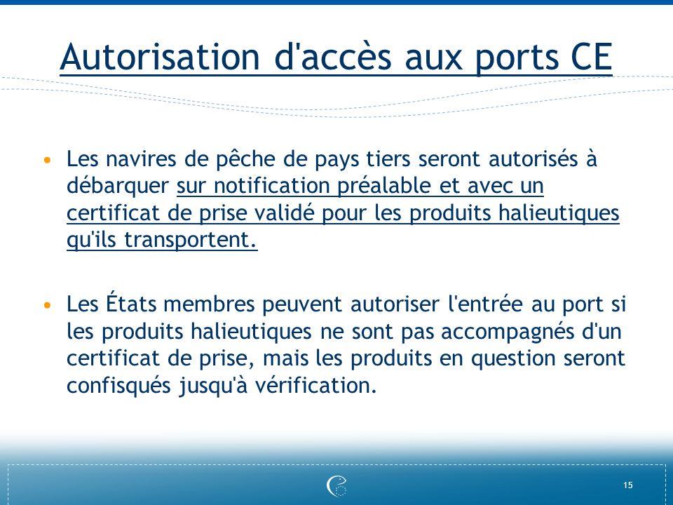 15 Autorisation d'accès aux ports CE Les navires de pêche de pays tiers seront autorisés à débarquer sur notification préalable et avec un certificat