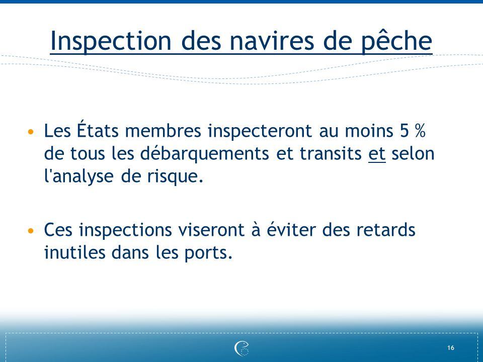 16 Inspection des navires de pêche Les États membres inspecteront au moins 5 % de tous les débarquements et transits et selon l'analyse de risque. Ces
