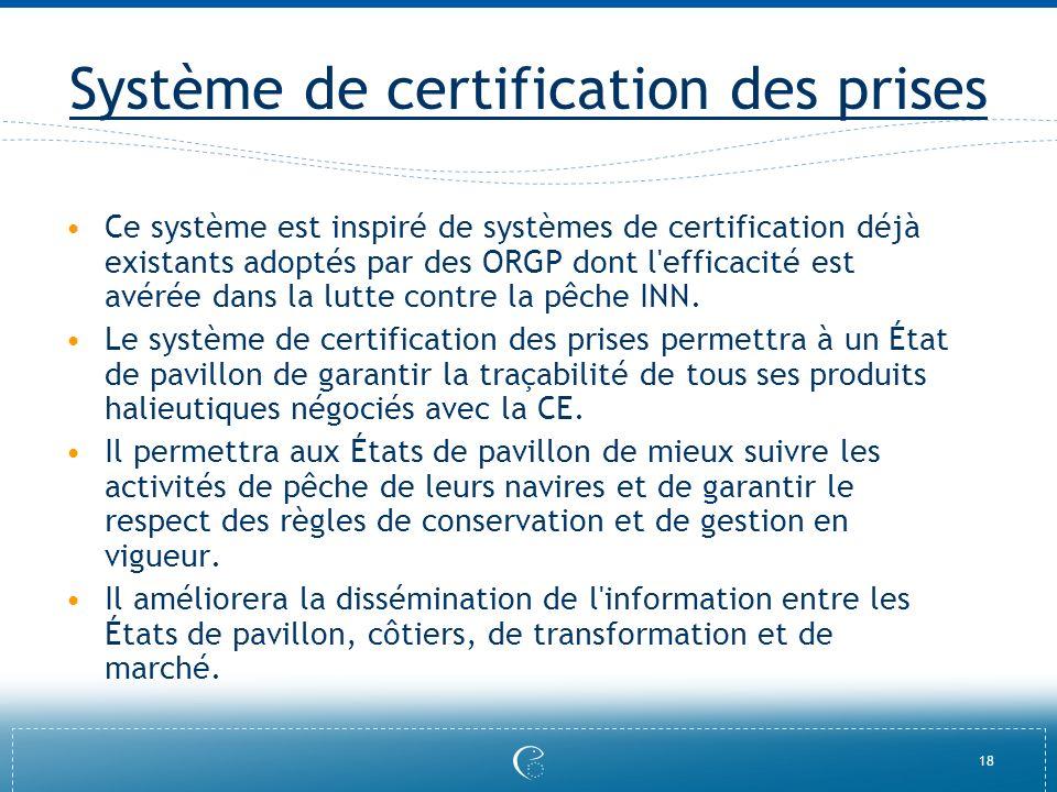 18 Système de certification des prises Ce système est inspiré de systèmes de certification déjà existants adoptés par des ORGP dont l'efficacité est a