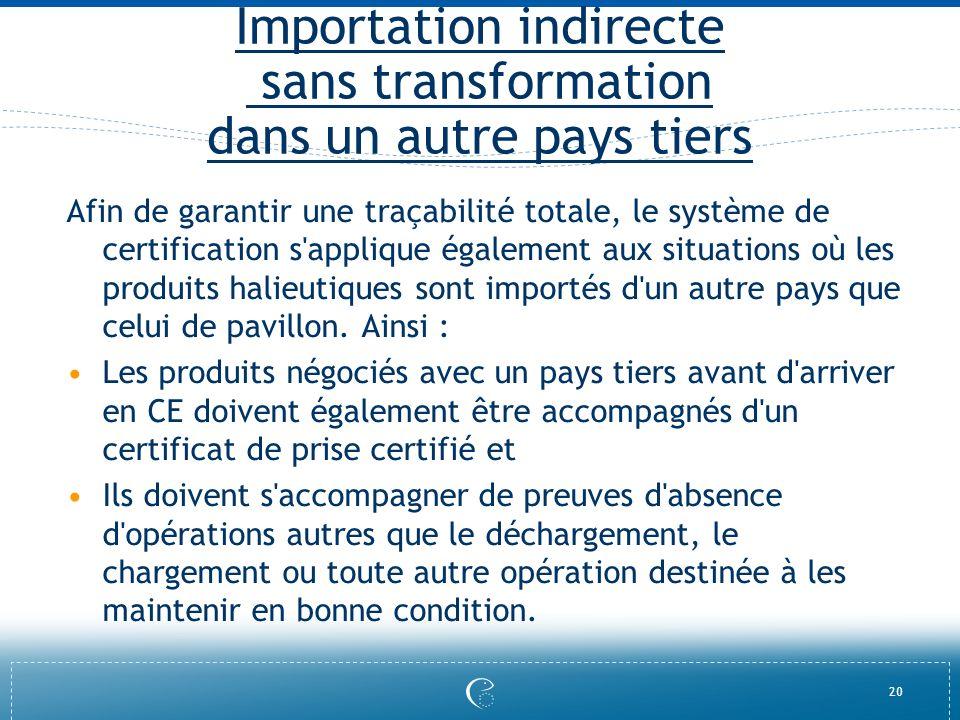 20 Importation indirecte sans transformation dans un autre pays tiers Afin de garantir une traçabilité totale, le système de certification s'applique