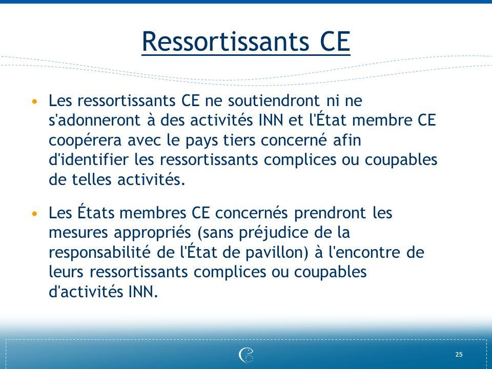25 Ressortissants CE Les ressortissants CE ne soutiendront ni ne s'adonneront à des activités INN et l'État membre CE coopérera avec le pays tiers con