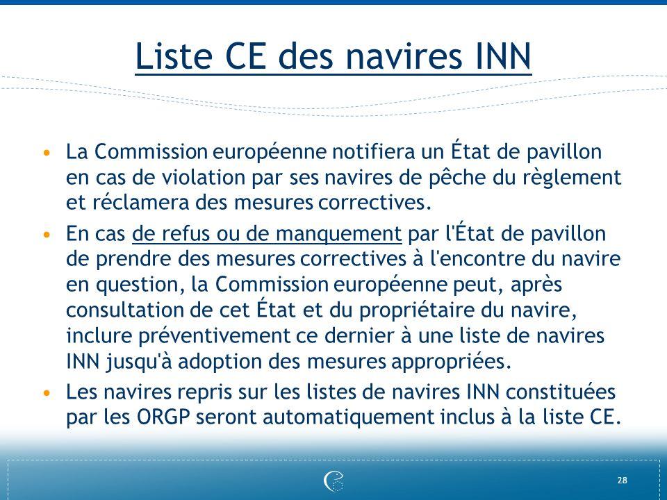 28 Liste CE des navires INN La Commission européenne notifiera un État de pavillon en cas de violation par ses navires de pêche du règlement et réclam