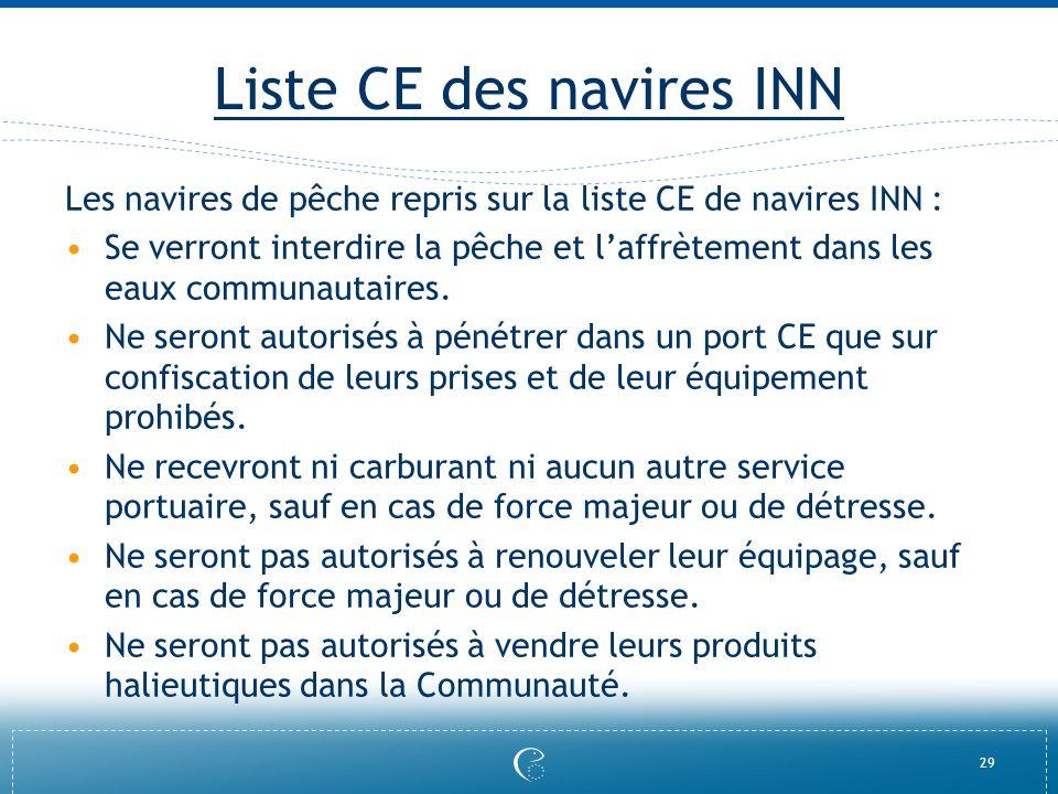 29 Liste CE des navires INN Les navires de pêche repris sur la liste CE de navires INN : Se verront interdire la pêche et laffrètement dans les eaux c