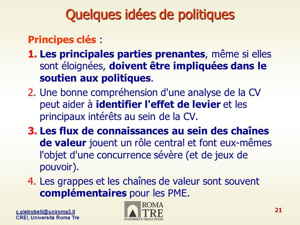 c.pietrobelli@uniroma3.it CREI, Università Roma Tre 21 Quelques idées de politiques Principes clés : 1.Les principales parties prenantes, même si elles sont éloignées, doivent être impliquées dans le soutien aux politiques.