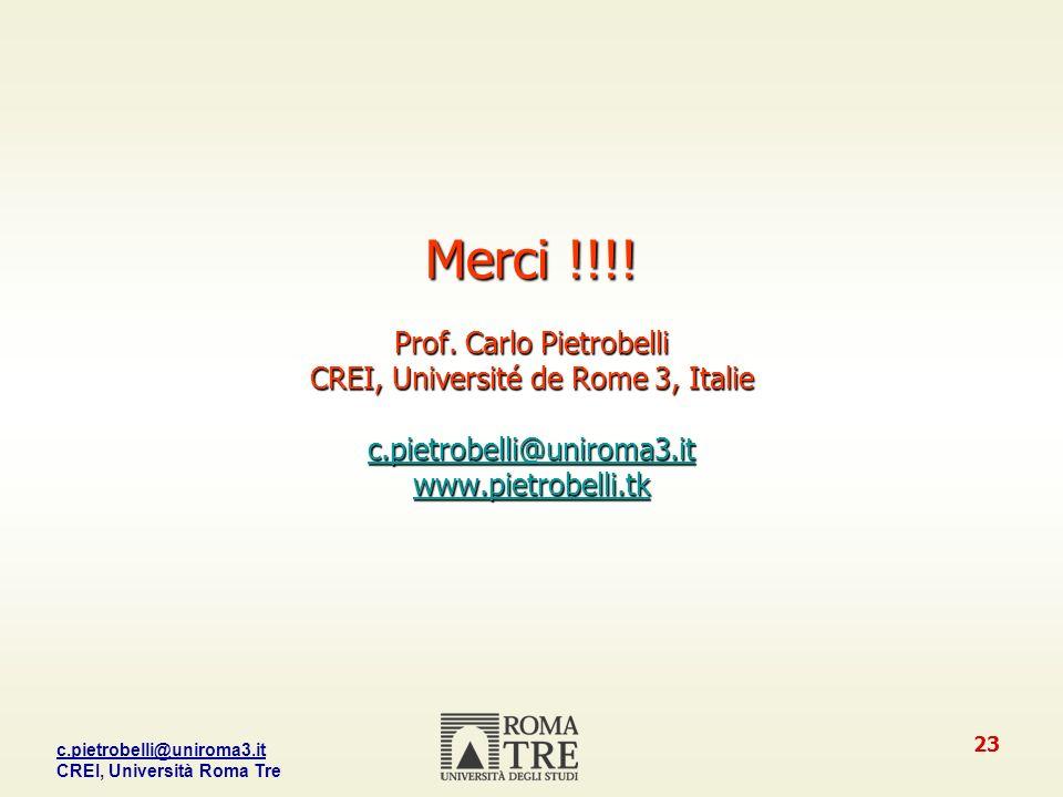 c.pietrobelli@uniroma3.it CREI, Università Roma Tre 23 Merci !!!.