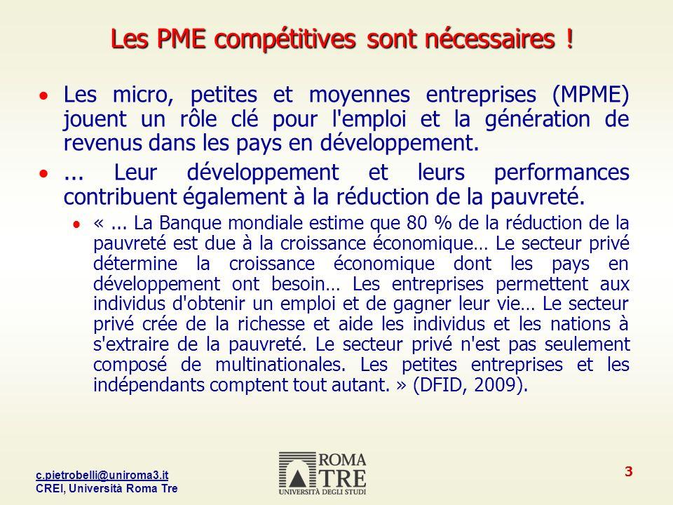 c.pietrobelli@uniroma3.it CREI, Università Roma Tre 3 Les PME compétitives sont nécessaires .