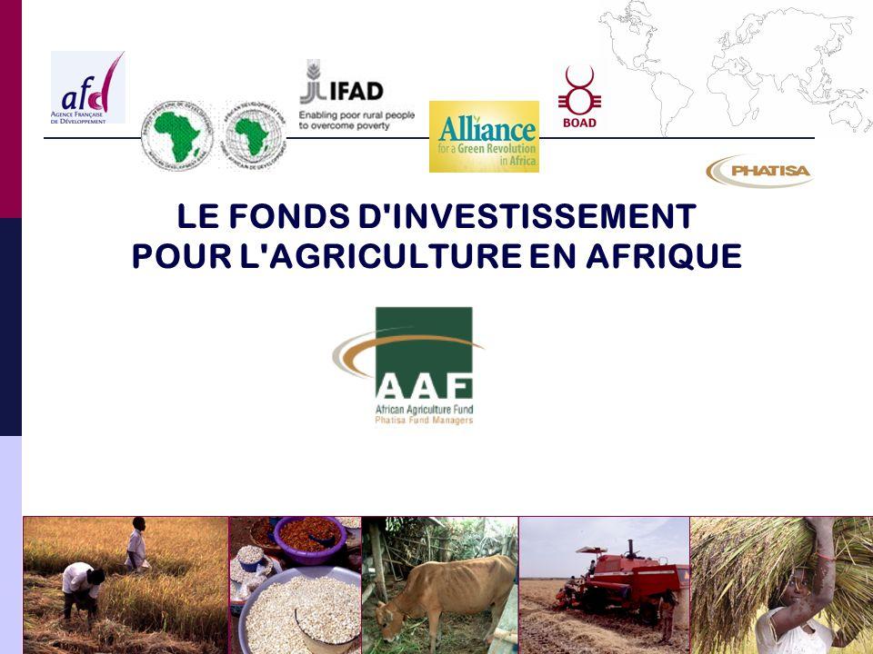 FONDS D INVESTISSEMENT POUR L AGRICULTURE EN AFRIQUE Opportunités offertes par un fonds d investissement Stratégies et objectifs d investissement Gouvernance du fonds Structure du fonds Agenda et étapes futures Infrastructure d assistance technique