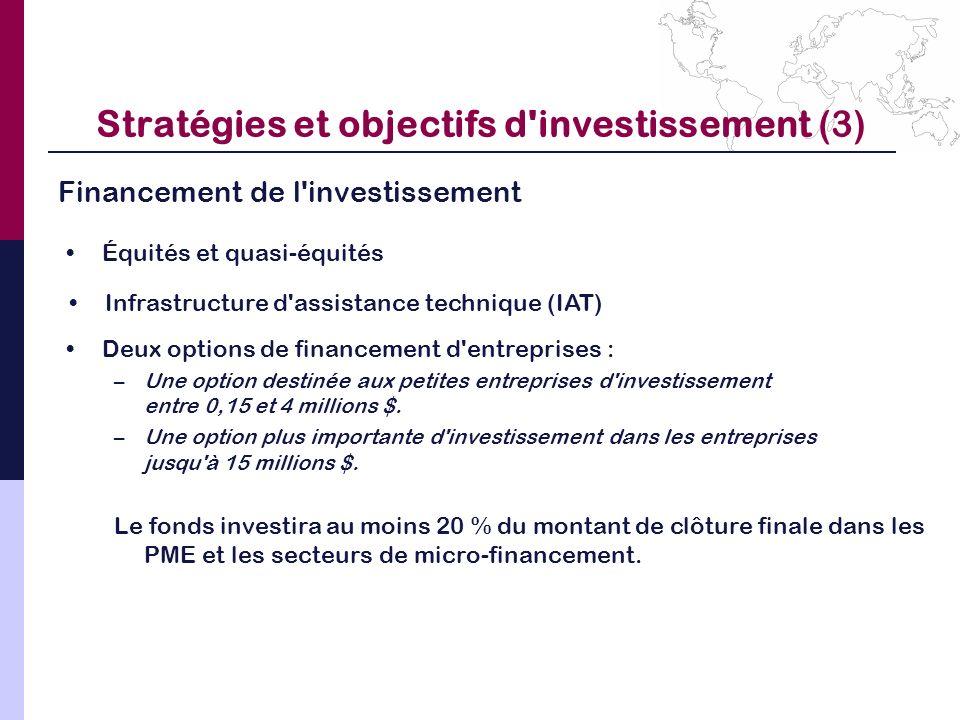 Financement de l'investissement Stratégies et objectifs d'investissement (3) Équités et quasi-équités Infrastructure d'assistance technique (IAT) Deux