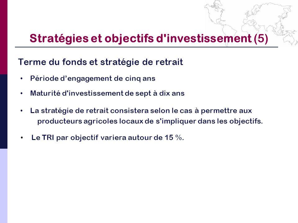 Stratégies et objectifs d'investissement (5) Terme du fonds et stratégie de retrait Période dengagement de cinq ans Maturité d'investissement de sept