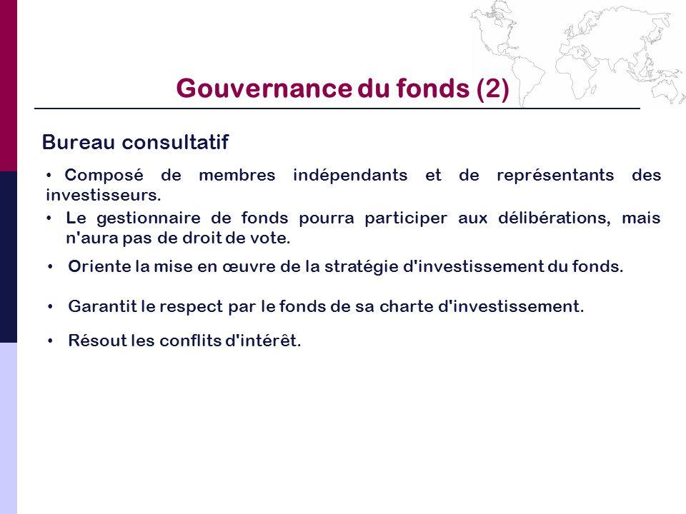 Gouvernance du fonds (2) Bureau consultatif Le gestionnaire de fonds pourra participer aux délibérations, mais n'aura pas de droit de vote. Composé de