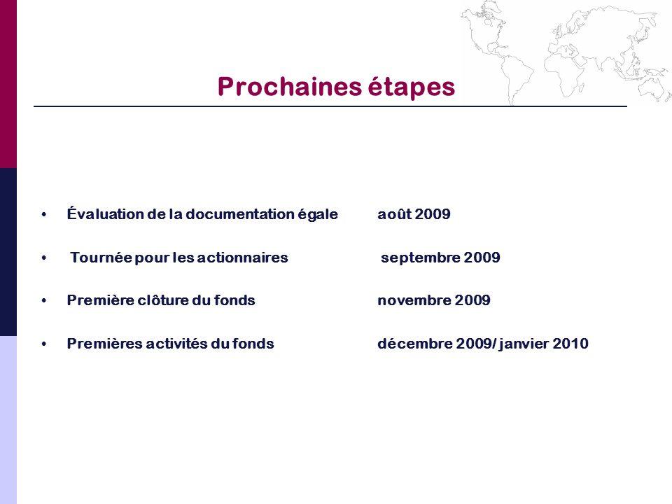 Prochaines étapes Évaluation de la documentation égaleaoût 2009 Tournée pour les actionnaires septembre 2009 Première clôture du fondsnovembre 2009 Pr
