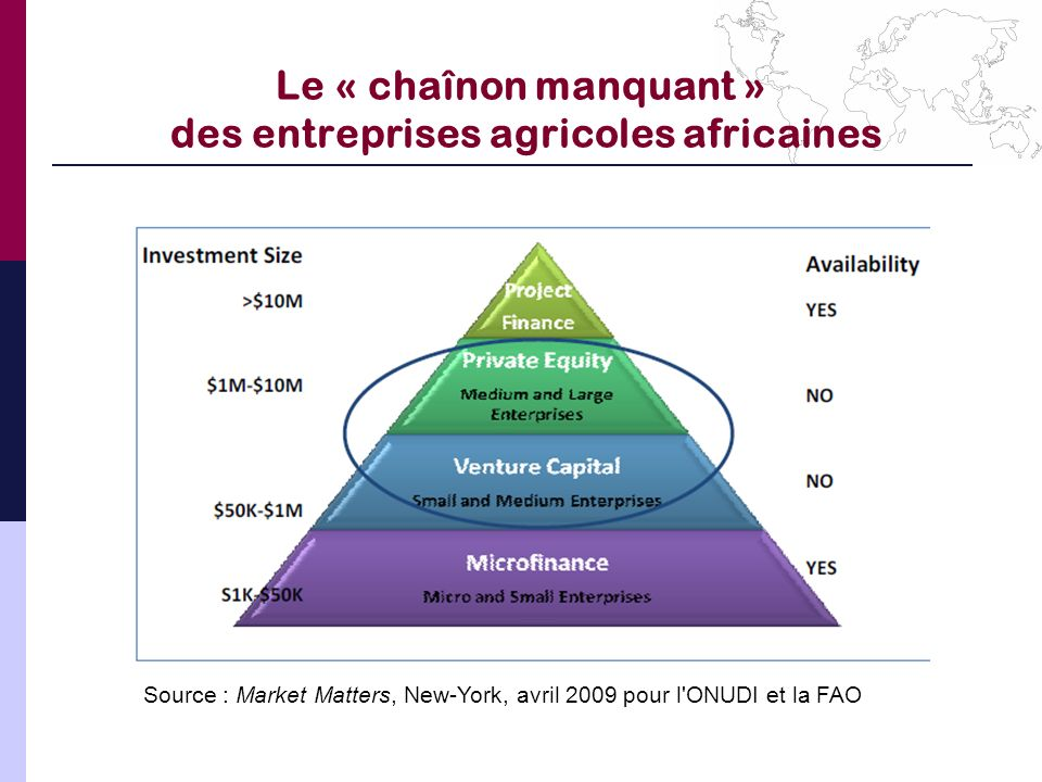 Le « chaînon manquant » des entreprises agricoles africaines Source : Market Matters, New-York, avril 2009 pour l'ONUDI et la FAO