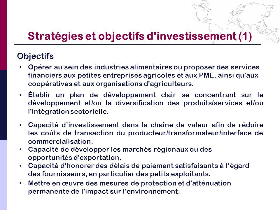 Stratégies et objectifs d'investissement (1) Objectifs Opérer au sein des industries alimentaires ou proposer des services financiers aux petites entr