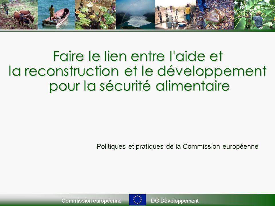 Commission européenneDG Développement Faire le lien entre l aide et la reconstruction et le développement pour la sécurité alimentaire Politiques et pratiques de la Commission européenne