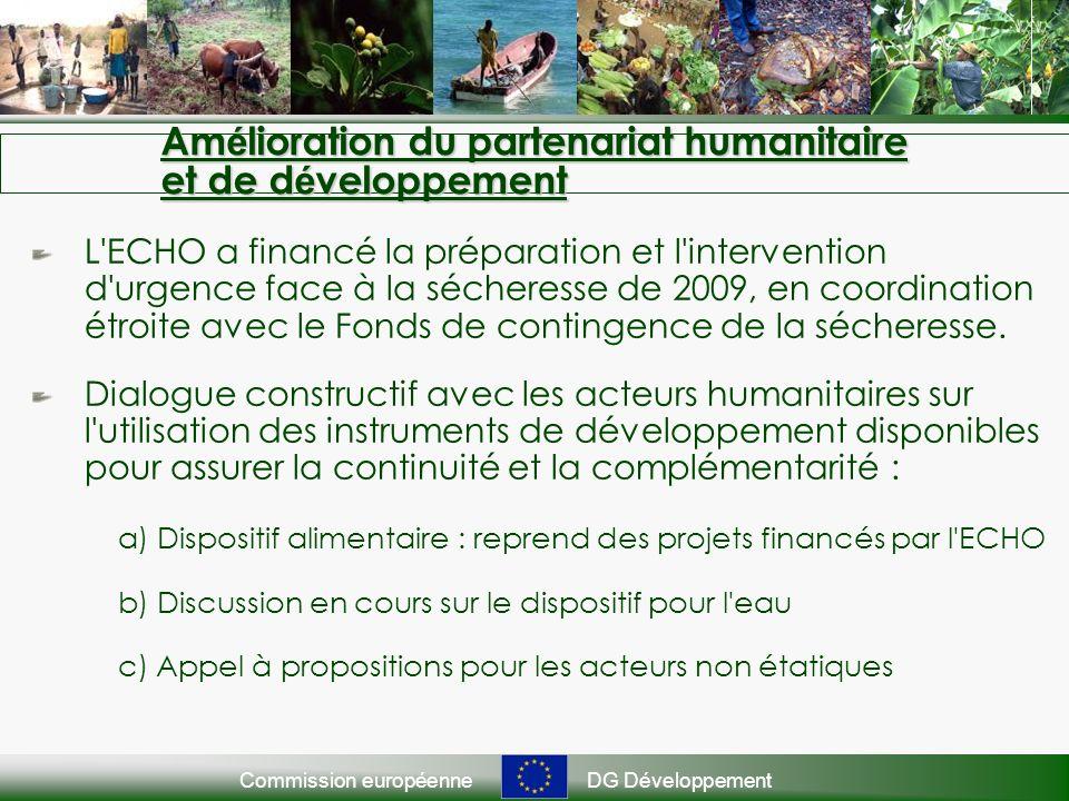 Commission européenneDG Développement Am é lioration du partenariat humanitaire et de d é veloppement L ECHO a financé la préparation et l intervention d urgence face à la sécheresse de 2009, en coordination étroite avec le Fonds de contingence de la sécheresse.