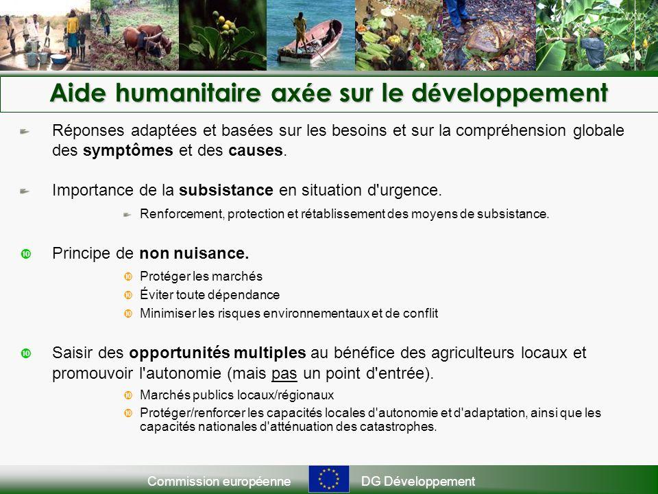 Commission européenneDG Développement Aide humanitaire ax é e sur le d é veloppement Réponses adaptées et basées sur les besoins et sur la compréhension globale des symptômes et des causes.