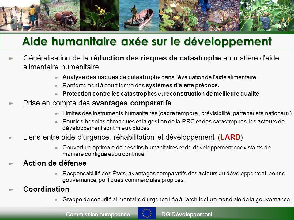 Commission européenneDG Développement Aide humanitaire ax é e sur le d é veloppement Généralisation de la réduction des risques de catastrophe en matière d aide alimentaire humanitaire Analyse des risques de catastrophe dans l évaluation de l aide alimentaire.