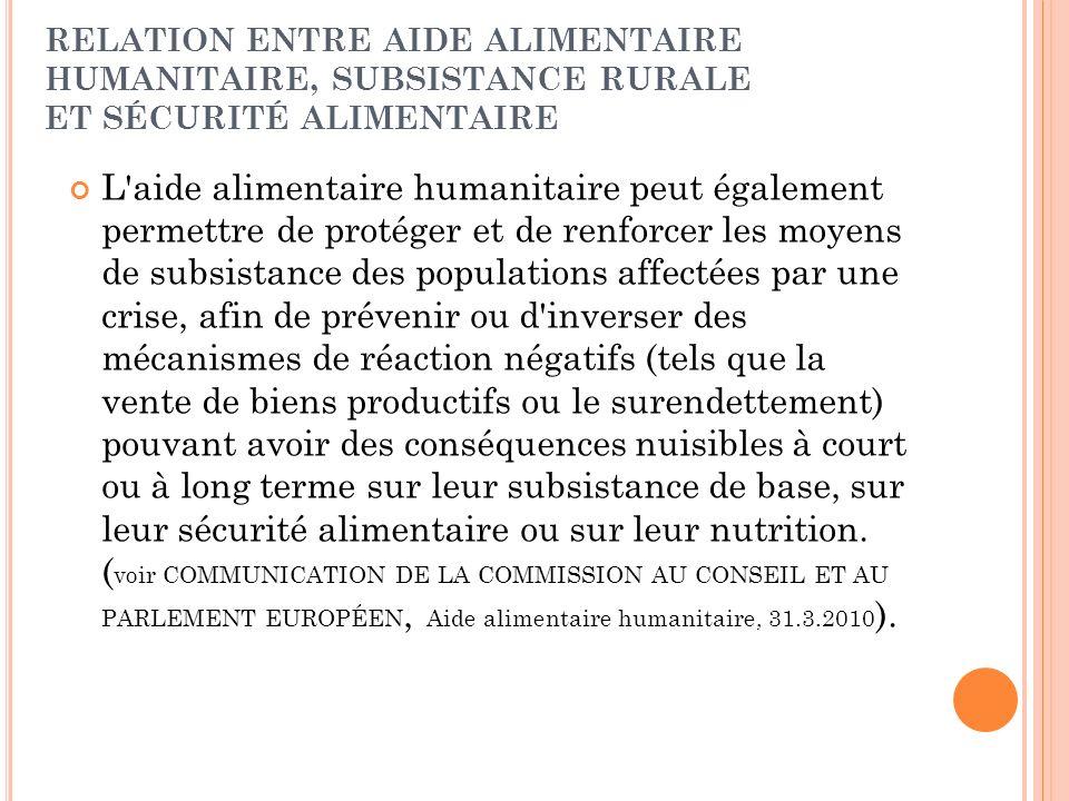 RELATION ENTRE AIDE ALIMENTAIRE HUMANITAIRE, SUBSISTANCE RURALE ET SÉCURITÉ ALIMENTAIRE L'aide alimentaire humanitaire peut également permettre de pro