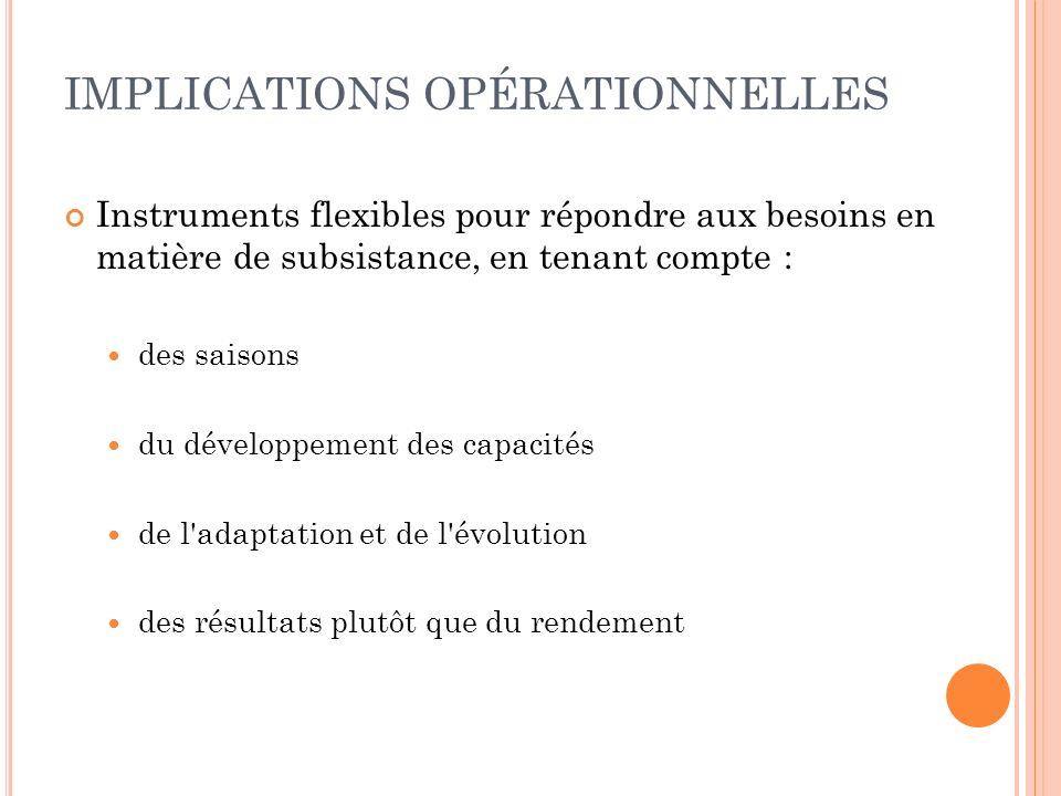 IMPLICATIONS OPÉRATIONNELLES Instruments flexibles pour répondre aux besoins en matière de subsistance, en tenant compte : des saisons du développemen