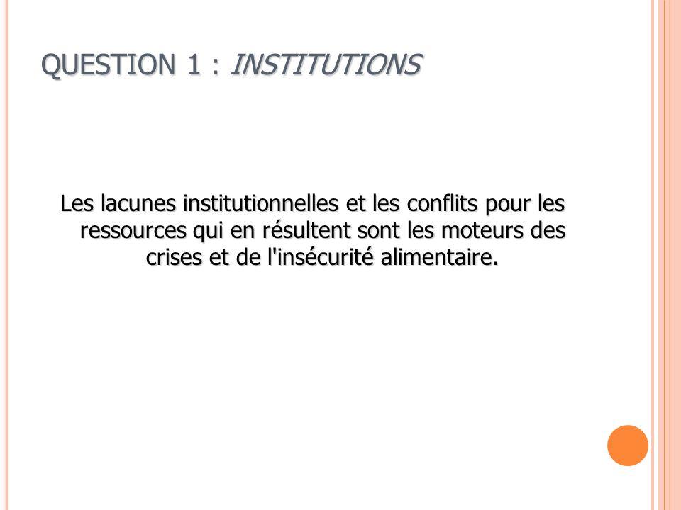 QUESTION 1 : INSTITUTIONS Les lacunes institutionnelles et les conflits pour les ressources qui en résultent sont les moteurs des crises et de l'inséc