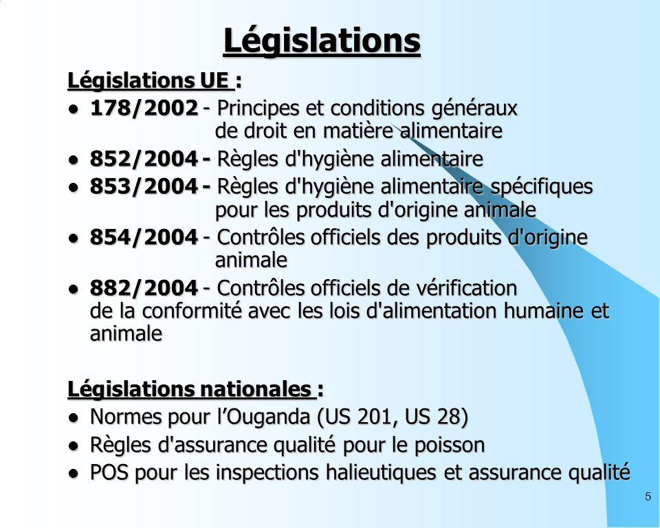 5 Législations Législations UE : 178/2002 - Principes et conditions généraux de droit en matière alimentaire 178/2002 - Principes et conditions généraux de droit en matière alimentaire 852/2004 - Règles d hygiène alimentaire 852/2004 - Règles d hygiène alimentaire 853/2004 - Règles d hygiène alimentaire spécifiques pour les produits d origine animale 853/2004 - Règles d hygiène alimentaire spécifiques pour les produits d origine animale 854/2004 - Contrôles officiels des produits d origine animale 854/2004 - Contrôles officiels des produits d origine animale 882/2004 - Contrôles officiels de vérification de la conformité avec les lois d alimentation humaine et animale 882/2004 - Contrôles officiels de vérification de la conformité avec les lois d alimentation humaine et animale Législations nationales : Normes pour lOuganda (US 201, US 28) Normes pour lOuganda (US 201, US 28) Règles d assurance qualité pour le poisson Règles d assurance qualité pour le poisson POS pour les inspections halieutiques et assurance qualité POS pour les inspections halieutiques et assurance qualité