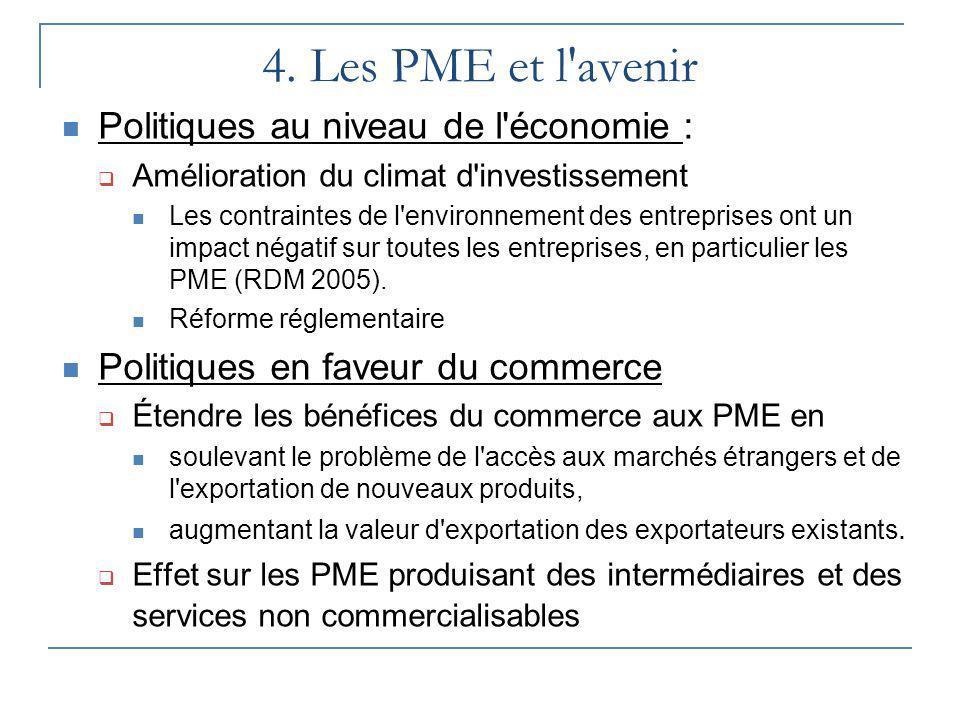 4. Les PME et l'avenir Politiques au niveau de l'économie : Amélioration du climat d'investissement Les contraintes de l'environnement des entreprises