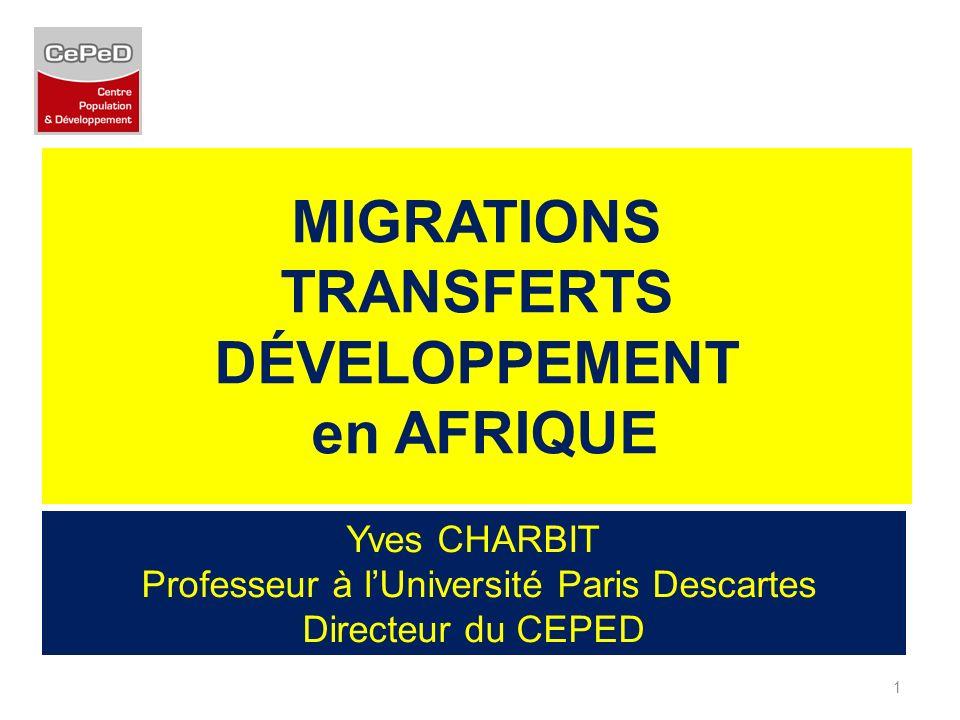 MIGRATIONS TRANSFERTS DÉVELOPPEMENT en AFRIQUE Yves CHARBIT Professeur à lUniversité Paris Descartes Directeur du CEPED 1