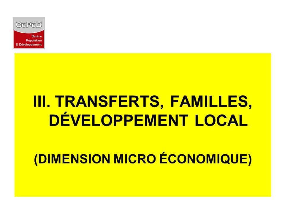 III. TRANSFERTS, FAMILLES, DÉVELOPPEMENT LOCAL (DIMENSION MICRO ÉCONOMIQUE)