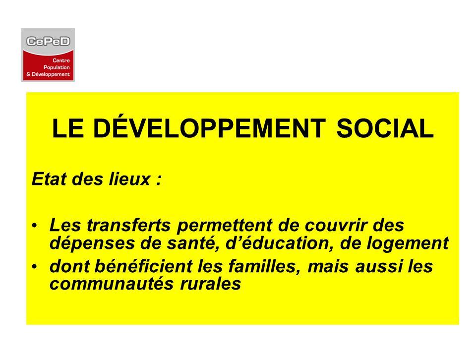 LE DÉVELOPPEMENT SOCIAL Etat des lieux : Les transferts permettent de couvrir des dépenses de santé, déducation, de logement dont bénéficient les fami