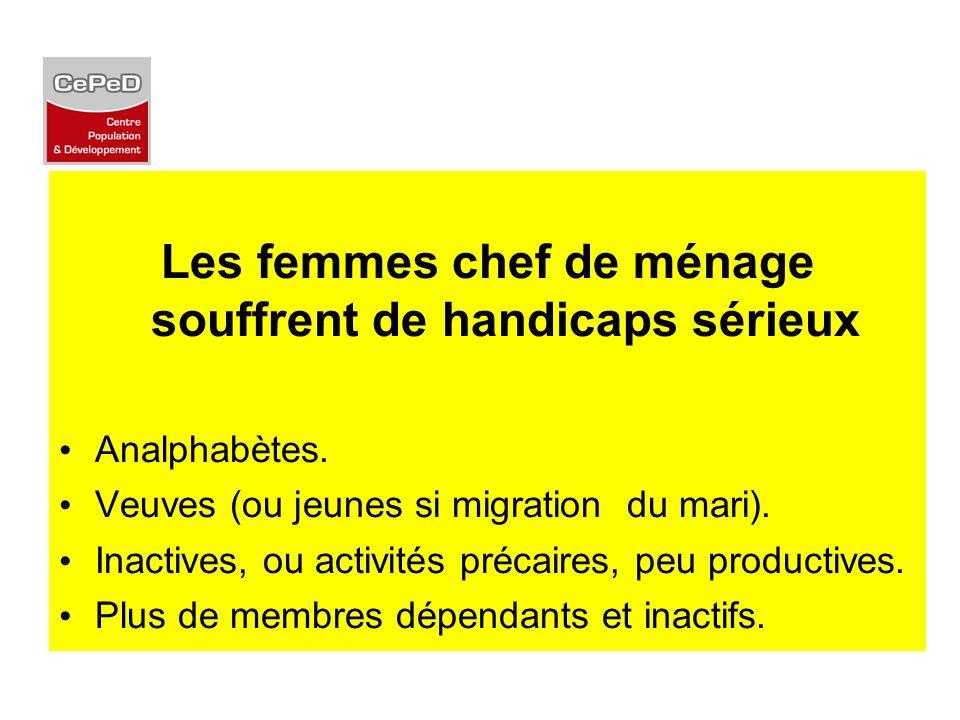 Les femmes chef de ménage souffrent de handicaps sérieux Analphabètes. Veuves (ou jeunes si migration du mari). Inactives, ou activités précaires, peu
