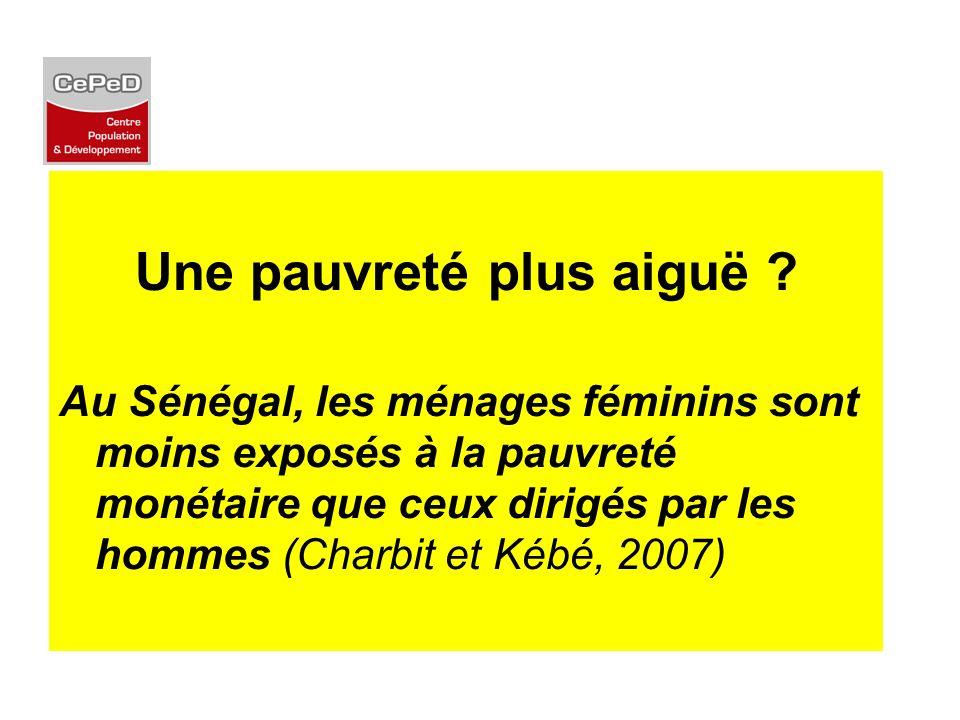 Une pauvreté plus aiguë ? Au Sénégal, les ménages féminins sont moins exposés à la pauvreté monétaire que ceux dirigés par les hommes (Charbit et Kébé