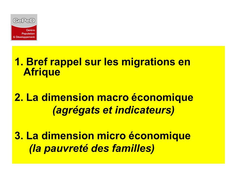 1. Bref rappel sur les migrations en Afrique 2. La dimension macro économique (agrégats et indicateurs) 3. La dimension micro économique (la pauvreté