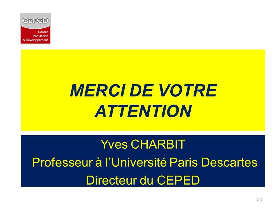 MERCI DE VOTRE ATTENTION Yves CHARBIT Professeur à lUniversité Paris Descartes Directeur du CEPED 30