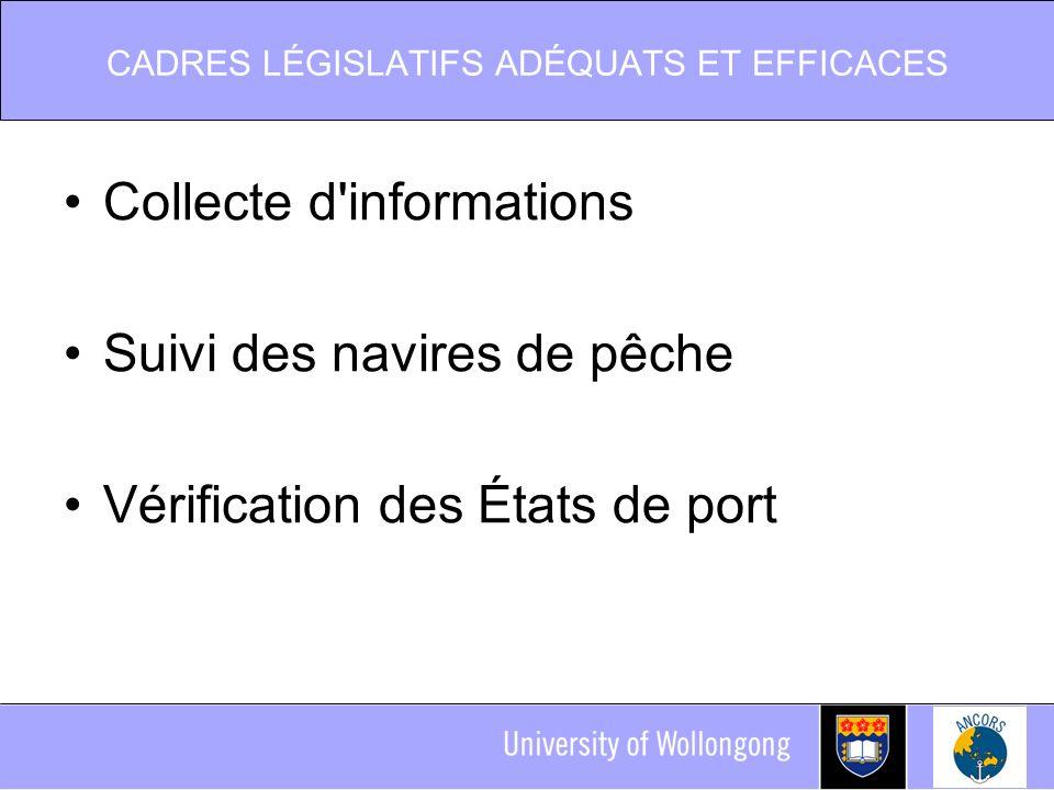 CADRES LÉGISLATIFS ADÉQUATS ET EFFICACES Collecte d informations Suivi des navires de pêche Vérification des États de port