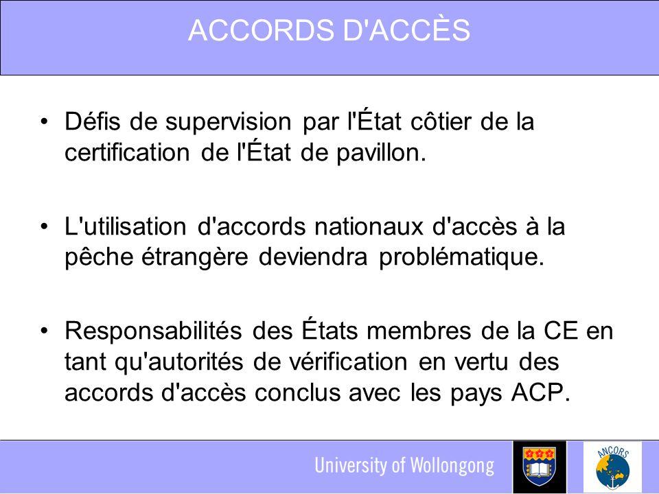 ACCORDS D ACCÈS Défis de supervision par l État côtier de la certification de l État de pavillon.