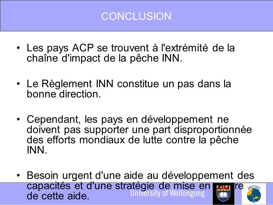 CONCLUSION Les pays ACP se trouvent à l extrémité de la chaîne d impact de la pêche INN.