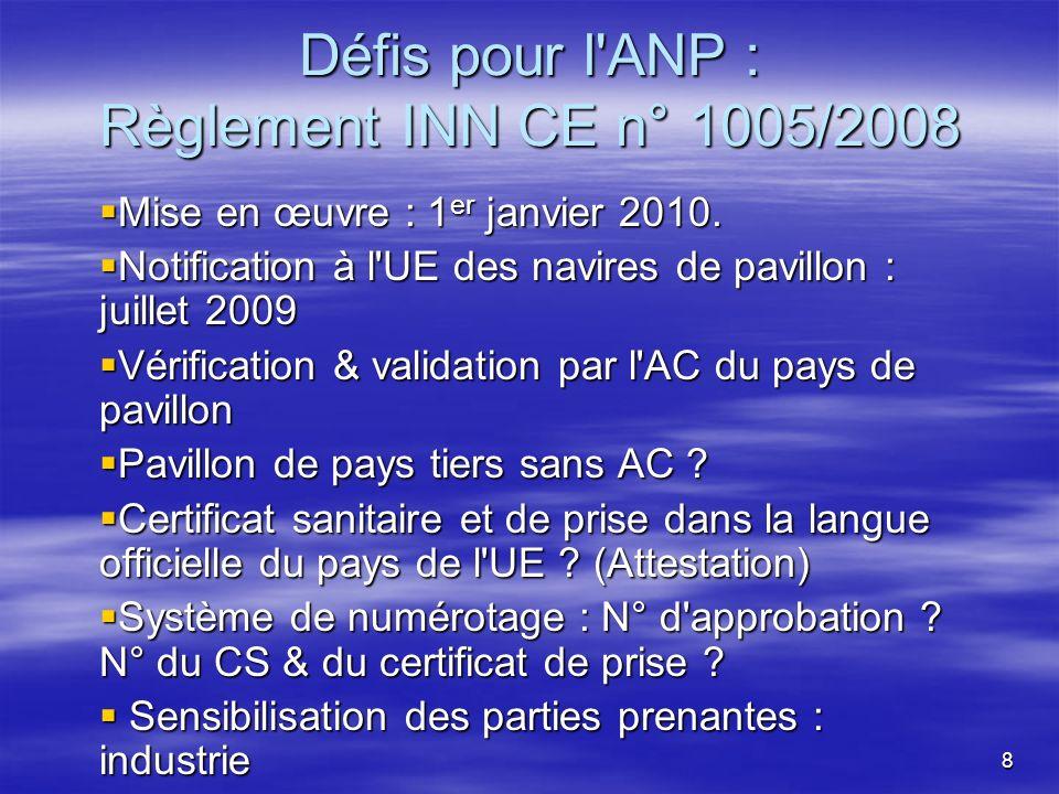 8 Défis pour l ANP : Règlement INN CE n° 1005/2008 Mise en œuvre : 1 er janvier 2010.