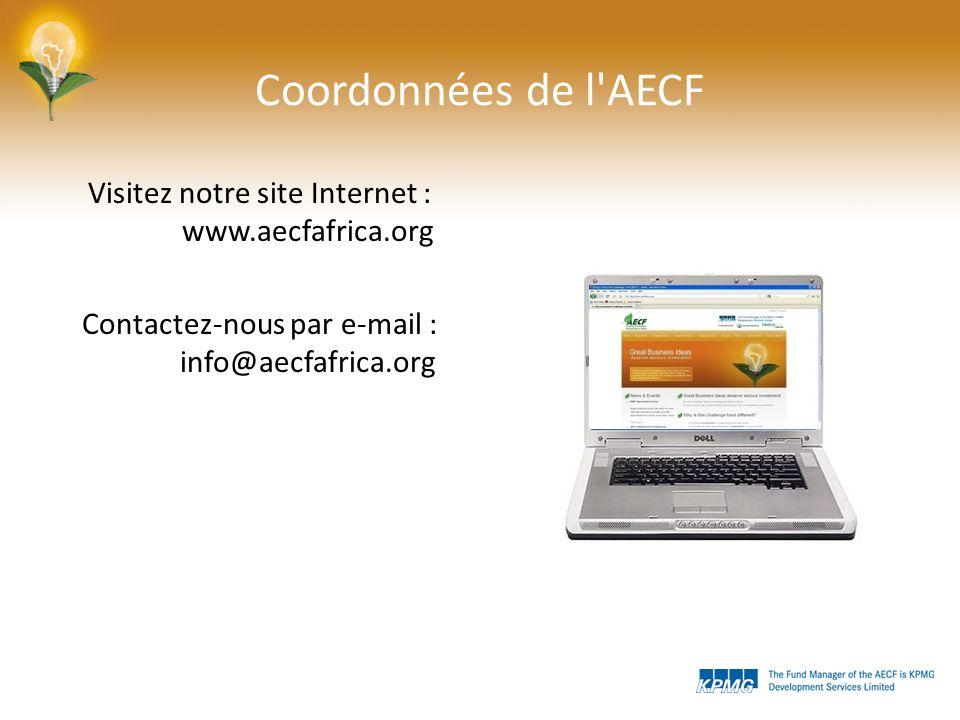 Coordonnées de l AECF Visitez notre site Internet : www.aecfafrica.org Contactez-nous par e-mail : info@aecfafrica.org