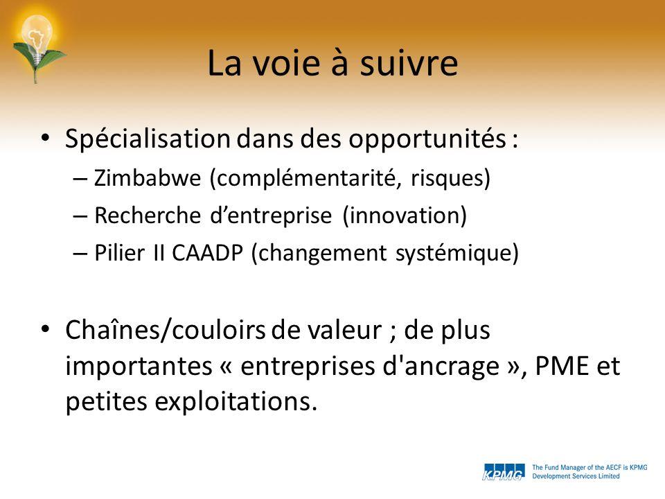 La voie à suivre Spécialisation dans des opportunités : – Zimbabwe (complémentarité, risques) – Recherche dentreprise (innovation) – Pilier II CAADP (changement systémique) Chaînes/couloirs de valeur ; de plus importantes « entreprises d ancrage », PME et petites exploitations.
