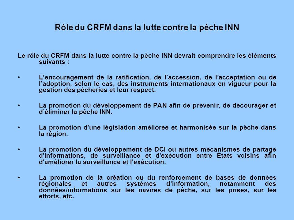 Rôle du CRFM dans la lutte contre la pêche INN Le rôle du CRFM dans la lutte contre la pêche INN devrait comprendre les éléments suivants : Lencourage