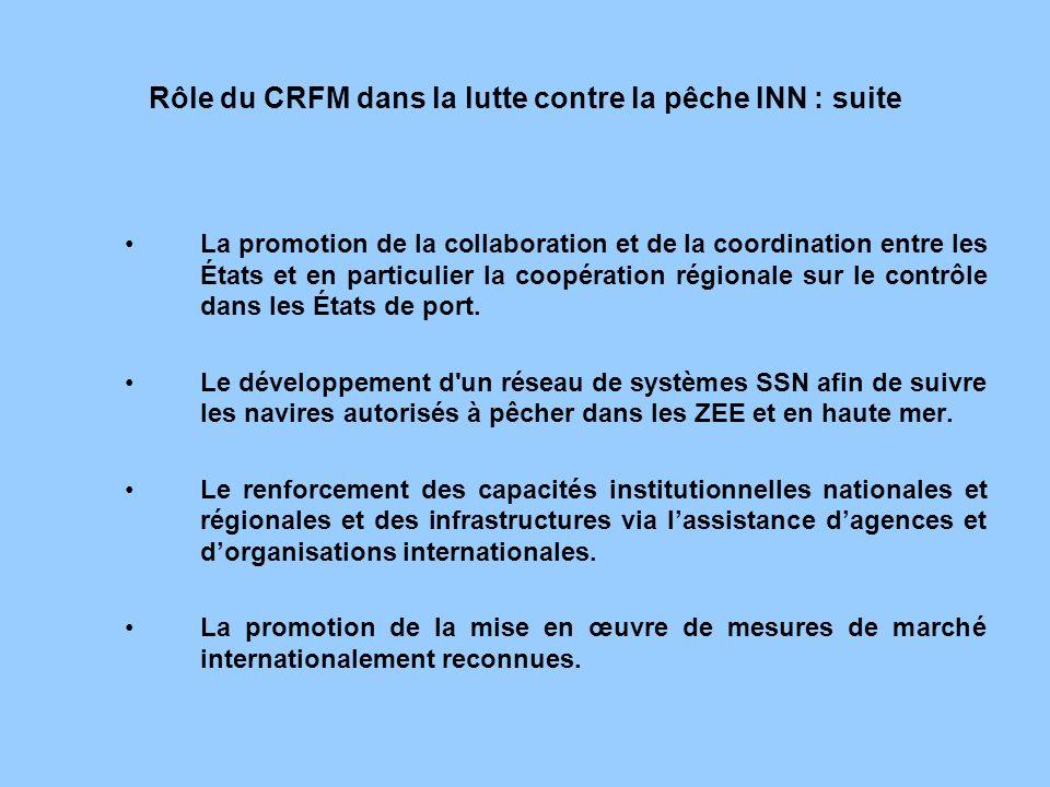 Rôle du CRFM dans la lutte contre la pêche INN : suite La promotion de la collaboration et de la coordination entre les États et en particulier la coo