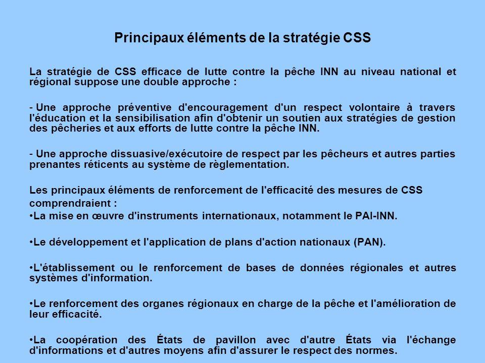 Principaux éléments de la stratégie CSS La stratégie de CSS efficace de lutte contre la pêche INN au niveau national et régional suppose une double ap