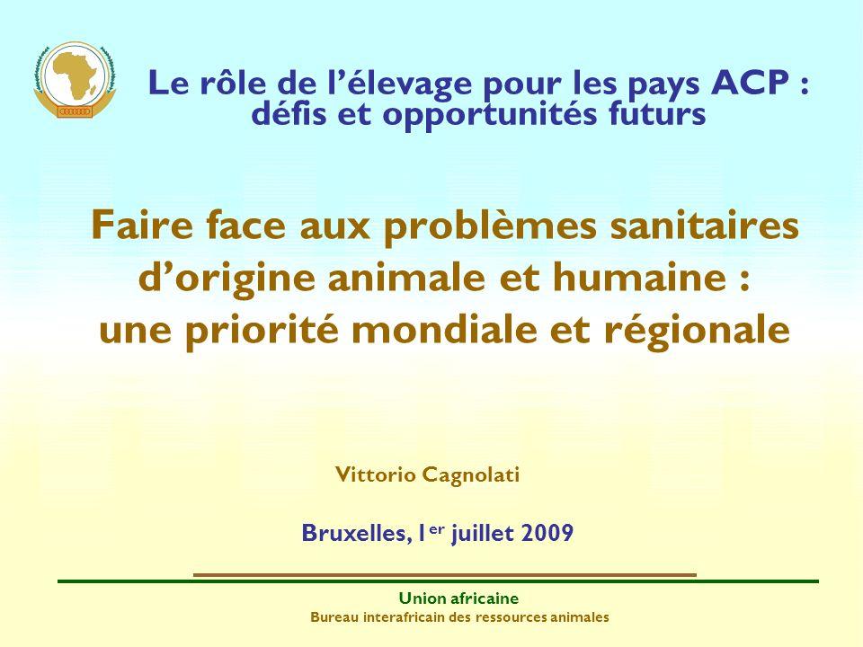 Union africaine Bureau interafricain des ressources animales Le rôle de lélevage pour les pays ACP : défis et opportunités futurs Faire face aux probl