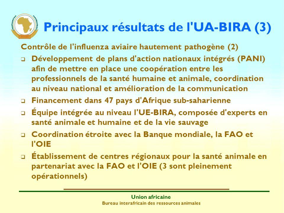 Union africaine Bureau interafricain des ressources animales Principaux résultats de l'UA-BIRA (3) Contrôle de l'influenza aviaire hautement pathogène